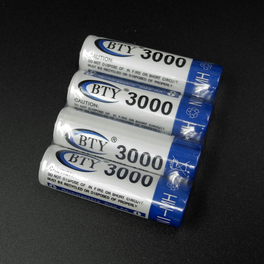 Гаджет  Free shipping New 2015 High 4 X BTY 3000mAh AA Ni-MH 1.2V Rechargeable Battery Pilha Recarregavel Batery None Бытовая электроника