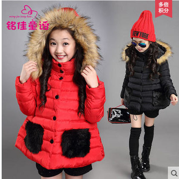 New ChildrenS Winter Rabbit Fur Collar Stitching Jacket Long Hooded Black/Red Coat GirlS Cotton Padded Parkas Outwear S1586<br><br>Aliexpress