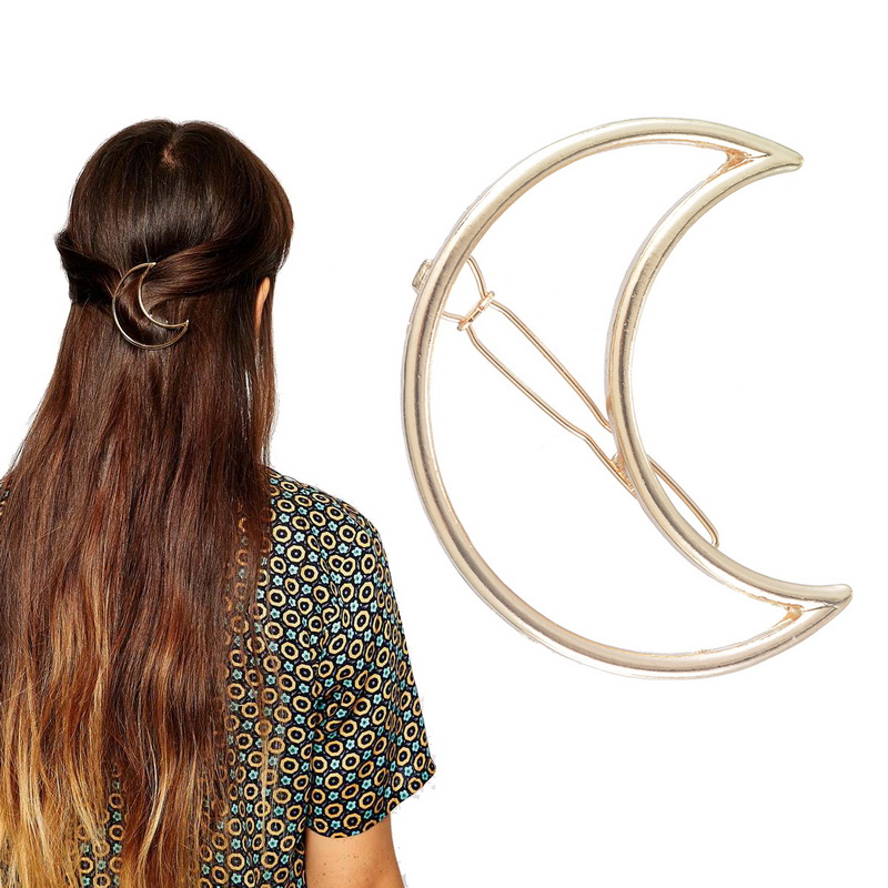 1PC Women Girls Gold Plated Fashion Hollow Out Crescent Moon Hair Clip Hairpin Hair Accessories(China (Mainland))