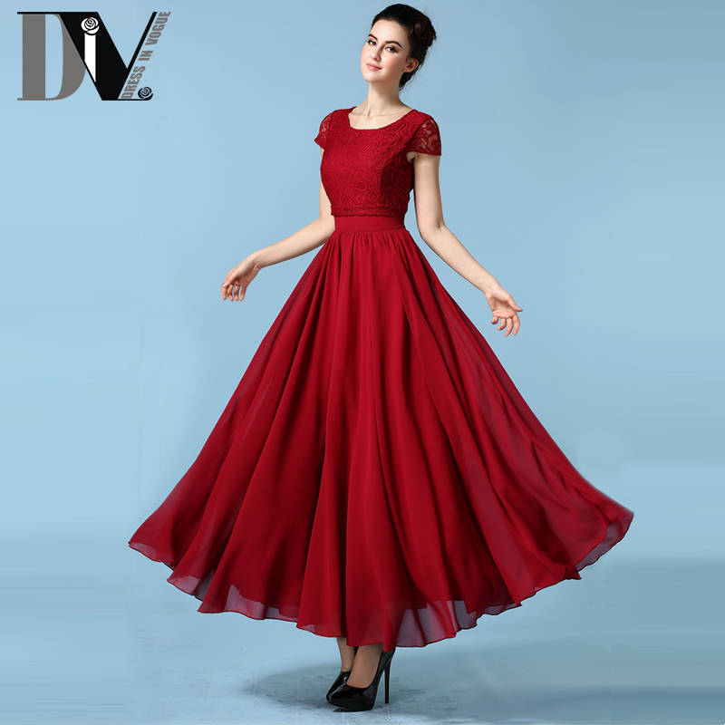 DIV Solid Lace Big Swing Dresses For women O-Neck Empire Casual Long Dresses 4 Kinds Color Soft Comfortable Party Maxi Vestidos(China (Mainland))