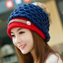 2015 Ladies Winter Knitted Cute Rabbit Fur Hairball Skull Beanies Women Thick Warm Headgear Headdress Hat Braid Ear Caps ZL158(China (Mainland))