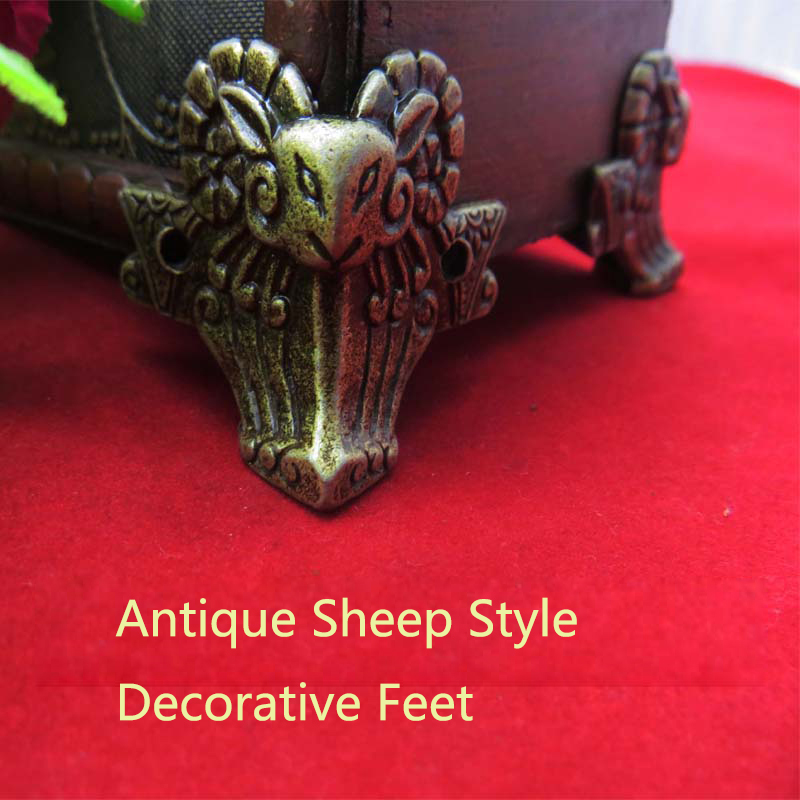 Гаджет  4pcs 44*36mm Antique Brass Vintage Bronze Jewelry Chest Box Wooden Case Decorative Feet Leg Metal Corner Protector With Screws None Мебель
