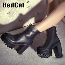 Talones mujer la marca medio tobillo corto Natrual cuero genuino verdadero botas de tacón de moda Lady nieve zapatos de la bota tamaño del EUR 34-39(China (Mainland))