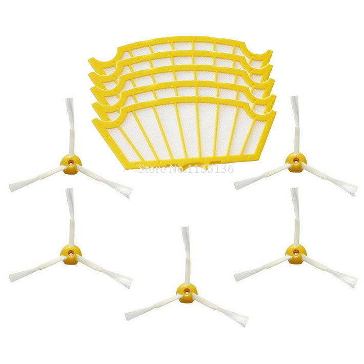 5 Pack filter 5 side brush for iRobot Roomba vacuum cleaner 500 series 510 530 550 560 570 580 581 585 accessories part #0133(China (Mainland))
