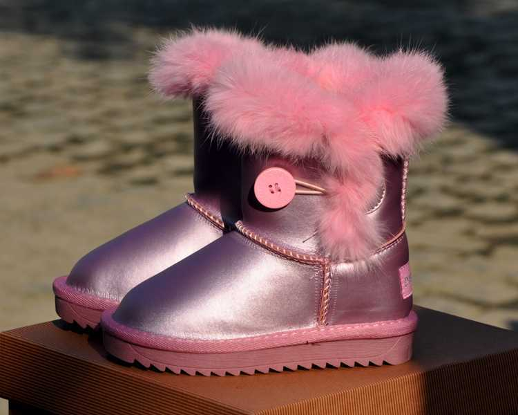 Winter New 2014 Genuine Leather Male Female Children Snow Boots Kids Girls Boys Real Rabbit Fur Cotton Boots Free shipping B1409<br><br>Aliexpress