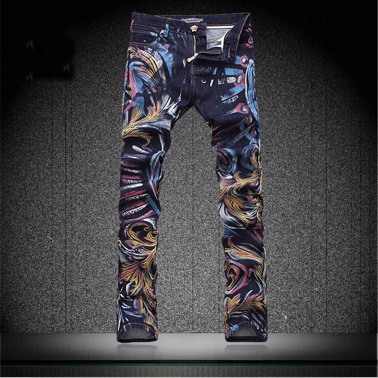 Colored Painting Skinny Jeans Calcas Men Graffiti Print