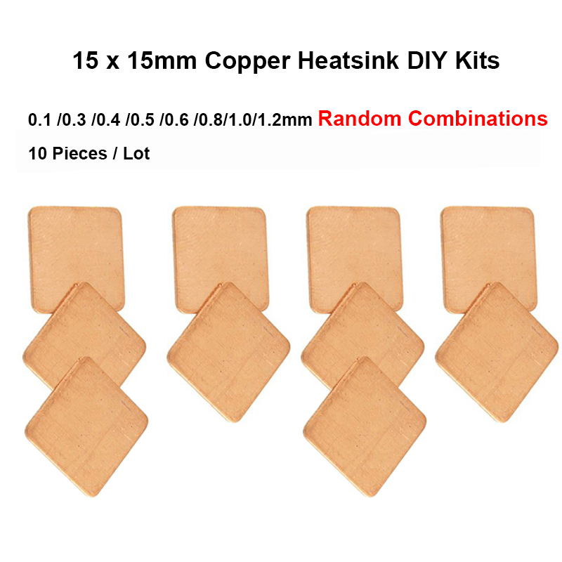 10pcs 15x15x0.1/0.3/0.4/0.5/0.6/0.8/1.0/1.2mm Random Combinations DIY Copper Heatsink thermal Pad,Laptop CPU VGA Chip RAM Cooler(China (Mainland))