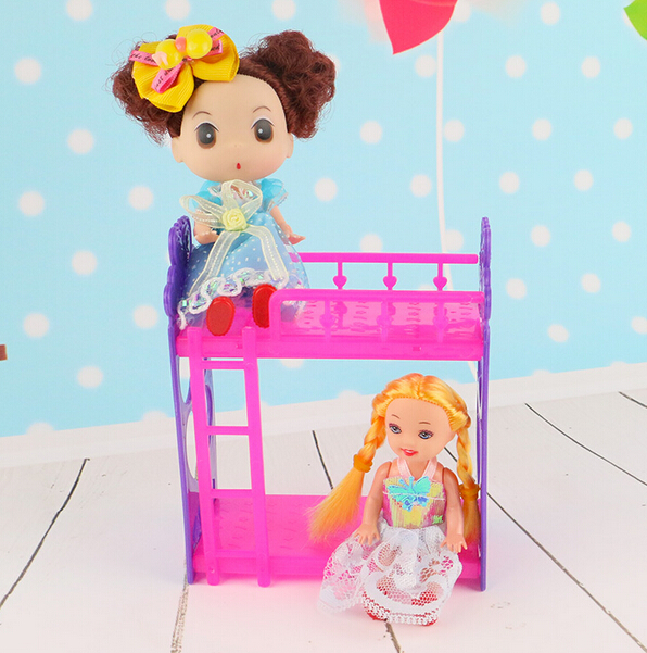 Kid's play house toys Doll Accessories Handmade Doll's Plastic bunk bed For BarbieDolls/Kali dolls(China (Mainland))