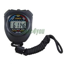 New Digital Running Timer Chronograph Sports Stopwatch Counter with Strap E#CH