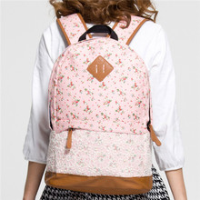 2015 Floral Pattern Bags Girls Canvas Flower Lace Pig Nose Backpack Travel Rucksack Women School Book Satchel 29x16x42cm(China (Mainland))