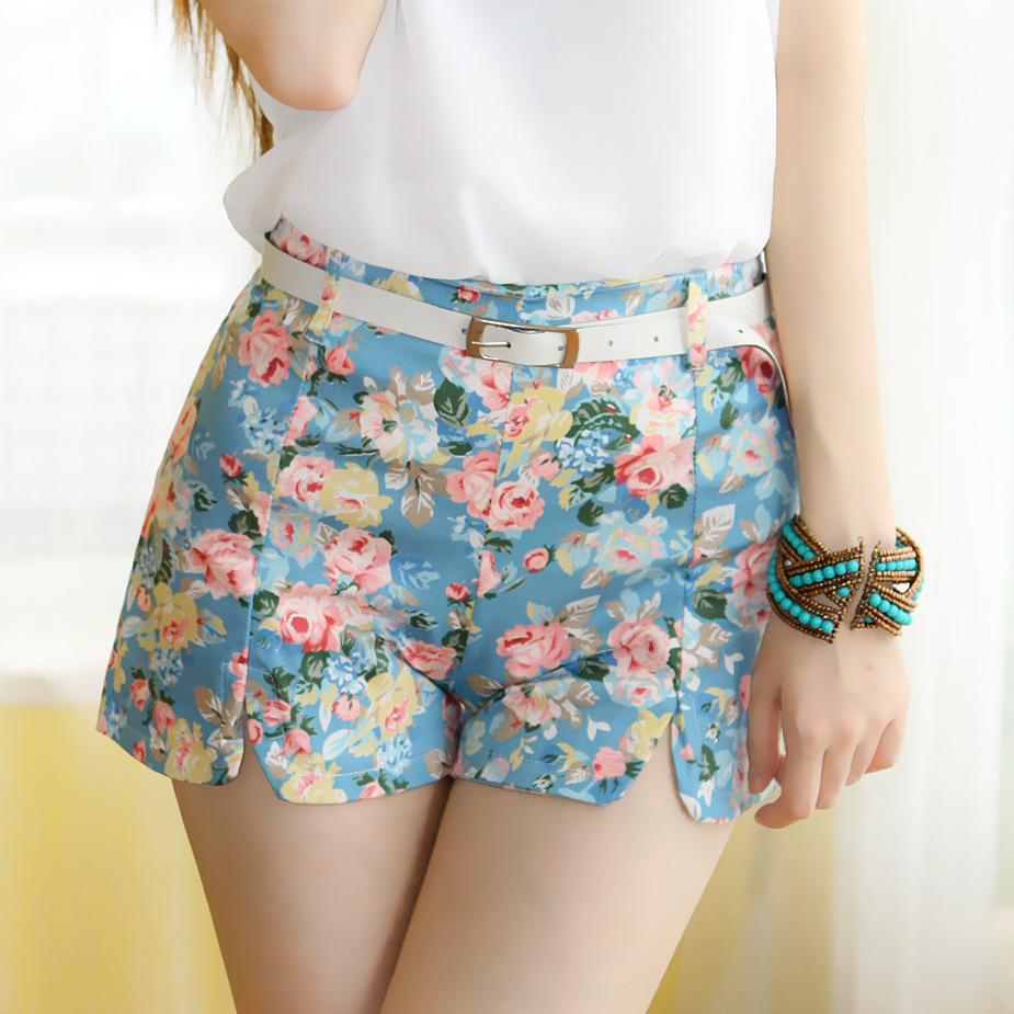 new 2015 summer shorts with flower pattern high waist. Black Bedroom Furniture Sets. Home Design Ideas