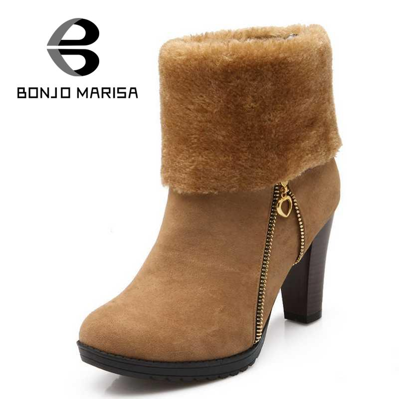 Newest Vintage Chunky High Heel Womens Shoes Round Toe Platform Warm Fur Shoes Outdoor Ankle Boots Platform Cowboy Snow Boots(China (Mainland))