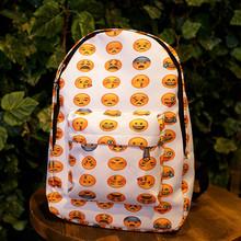 2016 довольно стиль женщины холст рюкзаки смайлик Emoji лицо печать школьный портфель для подростков девушки сумка F134