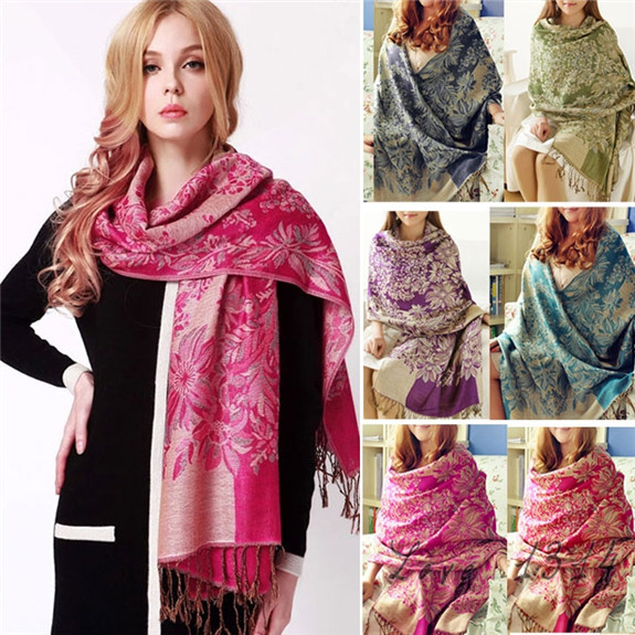 Natinonal Women Scarves Beach Wear New Fashion Autumn Summer Elegant Cover Up Tassel Scarf Wrap