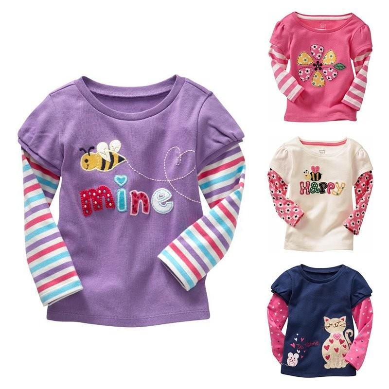 2017 Spring Cotton Kids Girls T Shirt Soft Long Sleeve Printed Shirts Infant Baby Blouse Tees T-shirt 0-6T