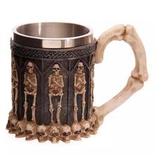 2016 New Resin Stainless Steel Skull Drinking Mug 3D Skull Spine Tankard Horror Decor Coffee Cup Mug Halloween Birthday Gift