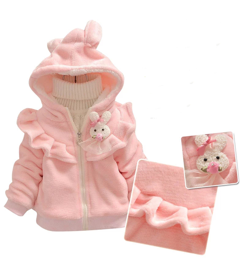 2015 new autumn and winter children bunny clothing child clothes baby girl outerwear coat girl s