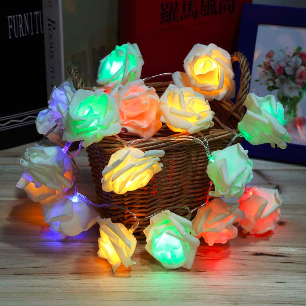 2016 Most Fashion Holiday Lighting 20 x LED Novelty Rose Flower Fairy String Lights Wedding Garden Party Christmas Decoration(China (Mainland))