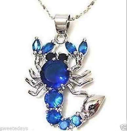 0002310 Scorpion blue sapphire cz Necklace Pendant(China (Mainland))