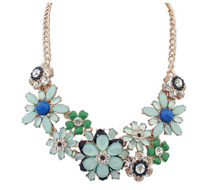 Women's Resin Flowers Crystal Statement Necklaces&Pendants Charm Rhinestone Necklace 2016 1N065(China (Mainland))