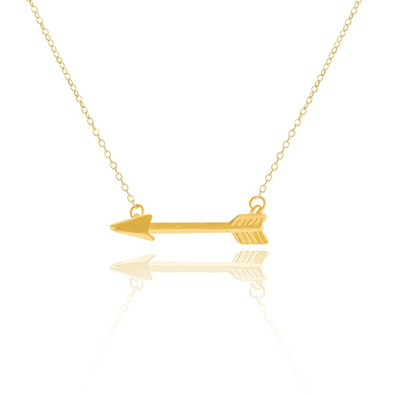 Gold Layering One Direction Horizontal Tiny Arrow Necklaces & Pendants Women Men Jewelry Body Chain Silver Choker Necklace - CC Helen store