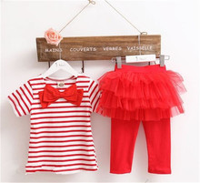 free shipping Kids set summer wear Short sleeve set Children clothing suit t shirt pants girls