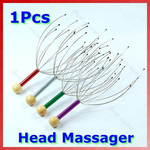 5PCS/LOT Head Neck Scalp Massager Massage Equipment Stress Relax With Wood Handle New Free Shipping(China (Mainland))