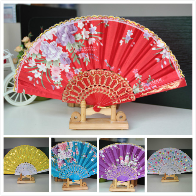 Fashion retro Lace folding fan Dance performance Hand fan Silk cloth fan Decorative flowers Chinese gift(China (Mainland))