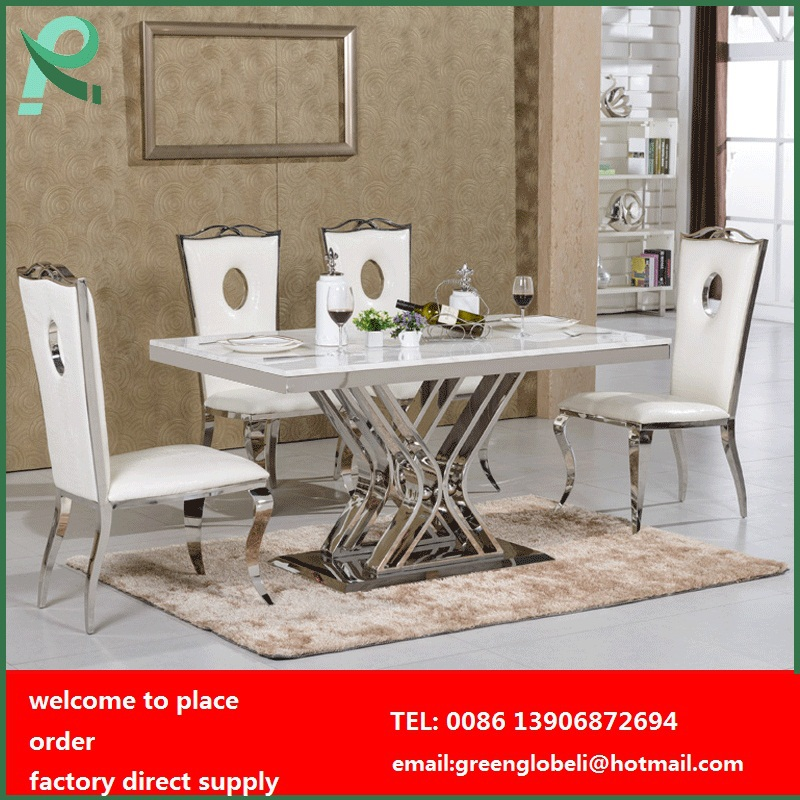 stainless steel dining table and chairs dining room table marble top dining table set(China (Mainland))