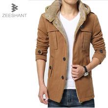 XXXXXL 2016 Casual Long Men's Winter Windbreaker Jacket Stand-up Collar Thickened Woolen Coat Wholesale in Men's Wool&Blends