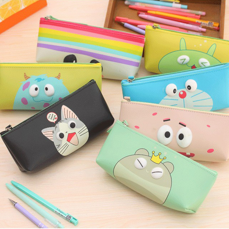 PU leather pencil bag cute waterproof zipper pencil case stationery bags school office supplies pouch for pens<br><br>Aliexpress