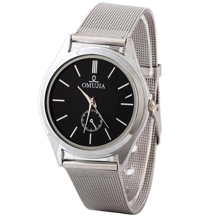 Nova Arrivel moda Mens Womens preto Dial magro prata malha pulseira de quartzo relógio de pulso grátis frete(China (Mainland))