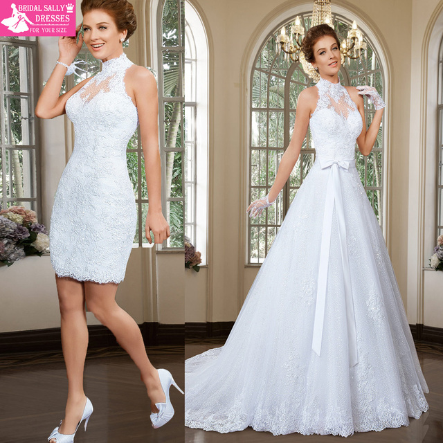 Халат де Mariage высокая шея съемный юбки кружева свадебные платья видеть сквозь ...
