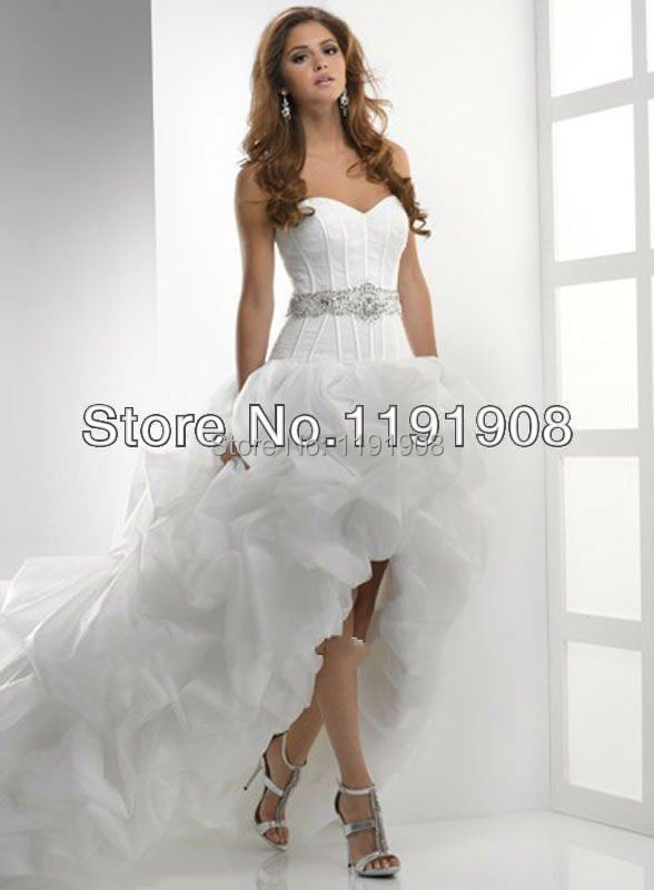 Stylish high low sweetheart neckline beaded blet organza for High low sweetheart wedding dress