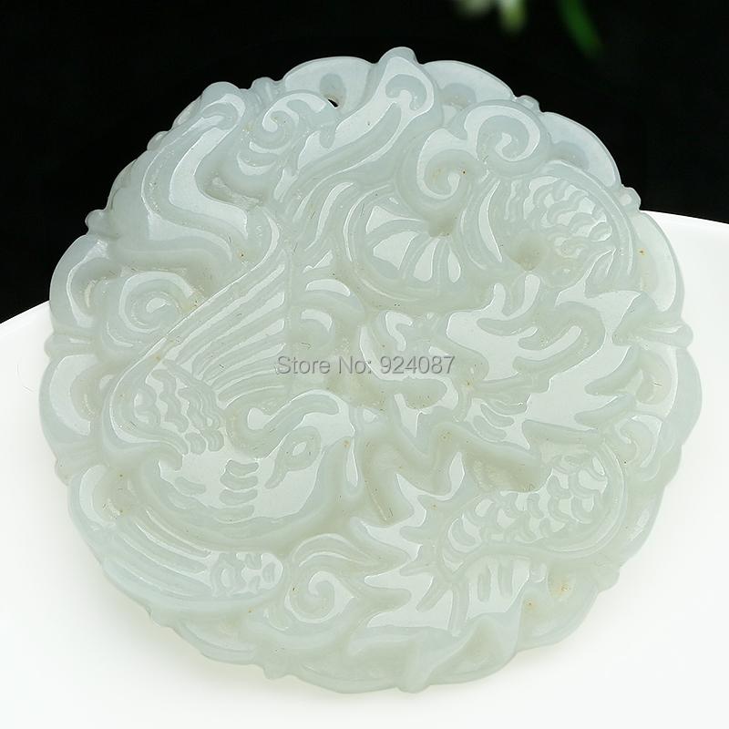 Genuine natural emeralds Longfeng brand Seiko carving jade jadeite Pendant Burma dragon and Phoenix jade pendant(China (Mainland))