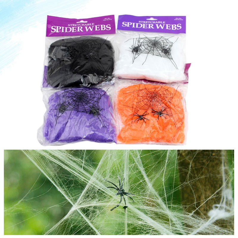 5 Colors 2015 New Funny Silky Cotton Halloween Spider Web House Outdoor Scary Halloween Decorations Party Bar Scene Props(China (Mainland))