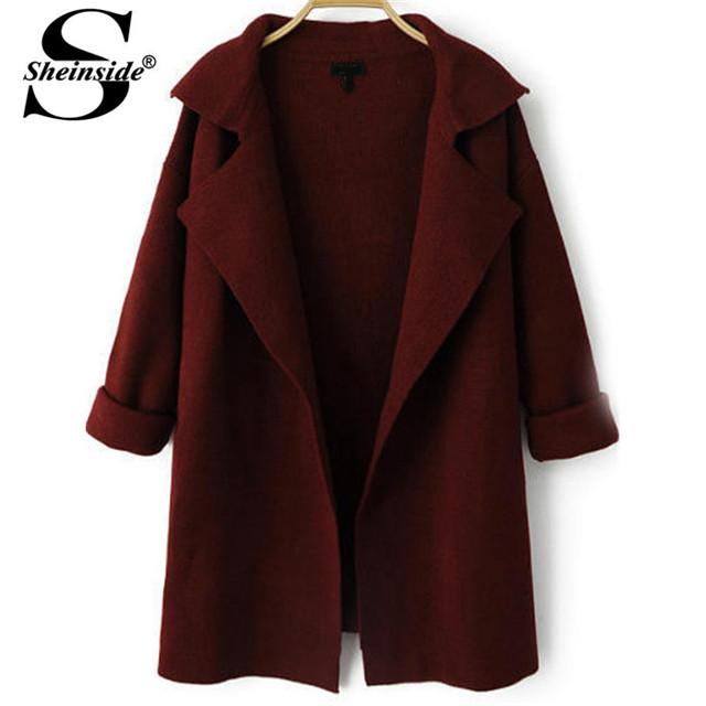 Sheinside Большой размер трикотаж урожай ретро дизайн бренд женщин сбывания пальто ...