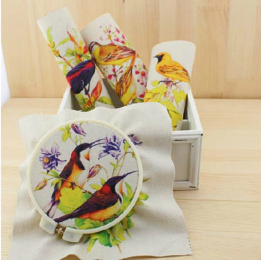 free shipping CF77 new 8pcs 20*20cm flower-and-bird cotton fabric hand dyed painting digital printing cloth thick cotton cloth(China (Mainland))