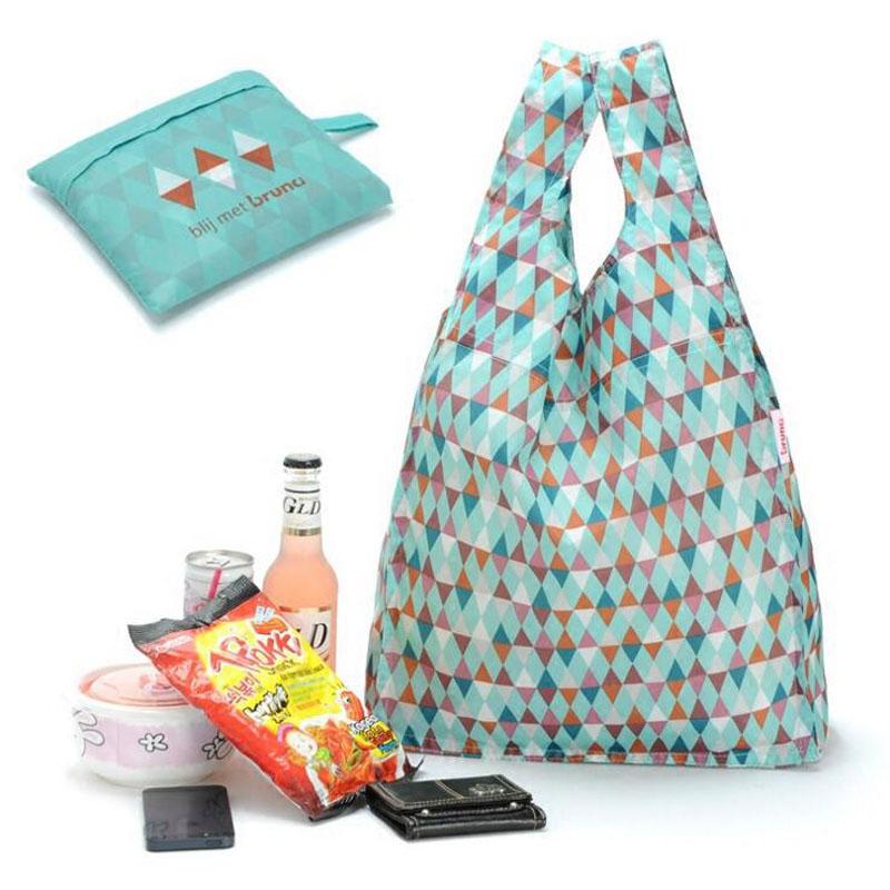 Reusable Shopping Bags Nylon Folding ShopperTote Bag Portable Fashion Geometric Foldable Shopping Grocery Bag Fro Supermarket(China (Mainland))
