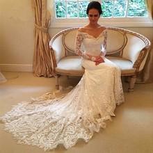 Buy Vestido De Noiva Boat Neck Lace Wedding Dress 2017 Court Train V-Neck Long Sleeve Button Applique Wedding Gowns Bride Dresses for $187.06 in AliExpress store