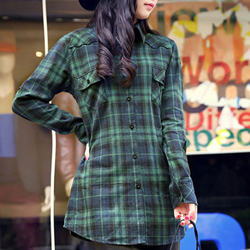 2015 flannel shirt women cheap turn down collar long for Where to buy cheap plaid shirts