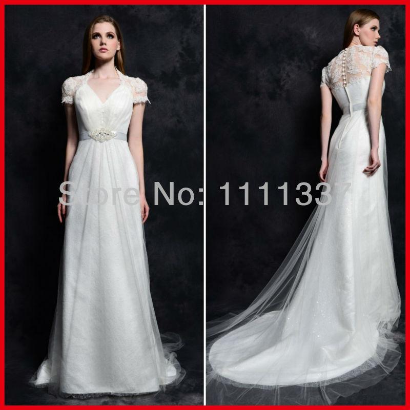 Custom Made Scalloped Neckline Beaded See Through Back Short Sleeve Long Train Wedding Dress Bridal Gown(China (Mainland))