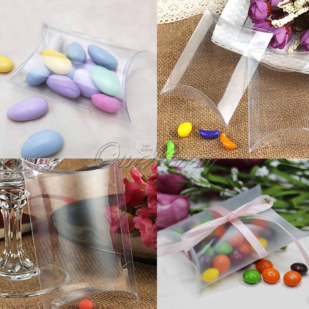 50Pieces/lot New Style Clear Pillow Shape Wedding Favor Gift Box , Transparent Party Candy Bag Wholesales(China (Mainland))