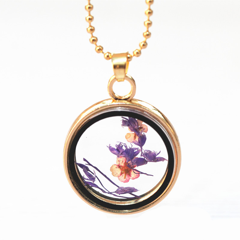 Sunshine Dried Purple Flowers Wish Real Daisy Glass Pendant Necklace Chrysanthemum Long Necklaces Fashion For Women New Style(China (Mainland))