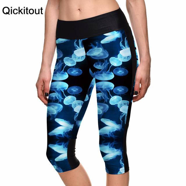 Мода женщин 7 точка брюки спорт кадрированные леггинсы морского бентоса синие медузы ...