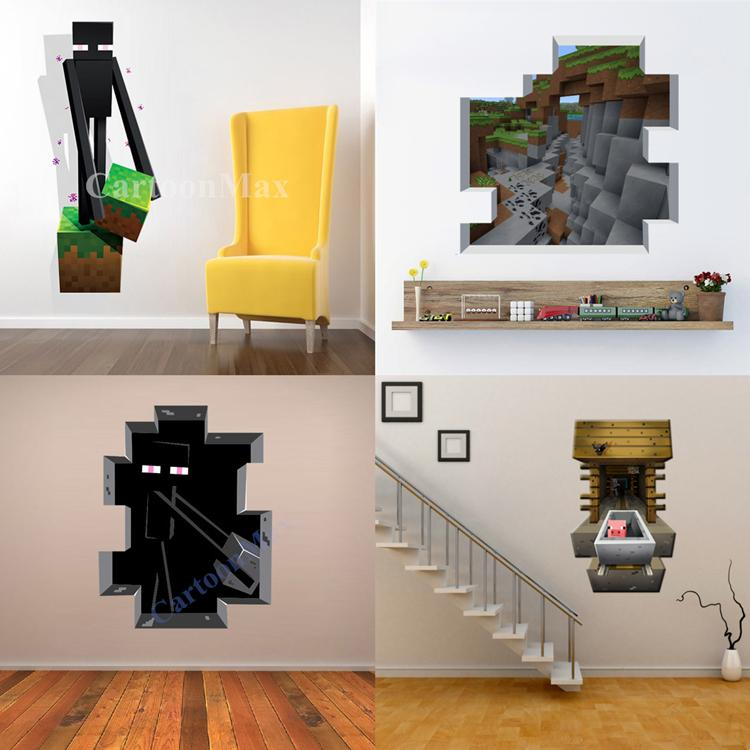 Newest Minecraft Wall Stickers Wallpaper Kids Room Decal Minecraft Home Decoration Free Shipping(China (Mainland))