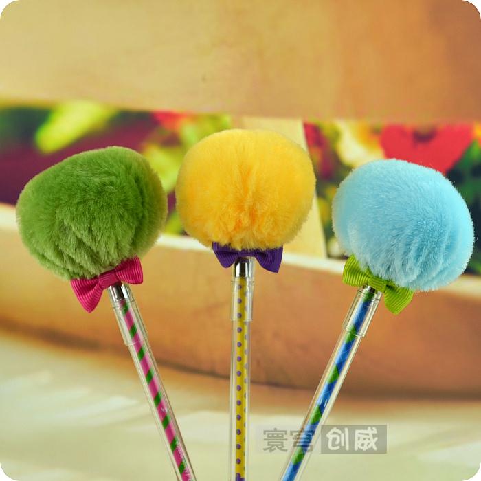 Candy color balloon pen bow plush unisex pen black pen fluffy pen(China (Mainland))