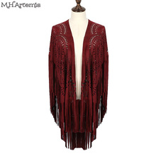 M.H.Artemis Boho chic Kimono Design Faux Suede Shawl laser cut out Floral Asymmetric Tassel Kimono Beach Capes pashmina Cover-up(China (Mainland))