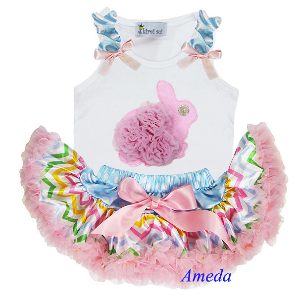 Newborn Easter Baby Girl Set Light Pink Rosettes Pearl Bunny White Tank Top and Pastel Chevron Pettiskirt 0-6M(Hong Kong)