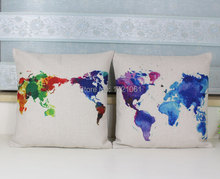 Colorful World Map Cushion